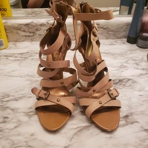 Marc Fisher Tan strappy heels